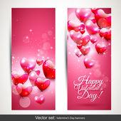 Valentinstag rosa-banner — Stockvektor