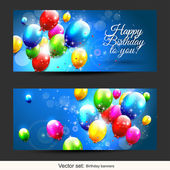 Birthday balloons banners — Vecteur