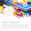 Foto Stock: School supplies on white background