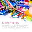 Foto Stock: Colorful school background with copyspace
