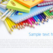 Foto Stock: School supplies - background with copyspace