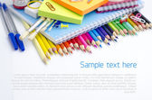 School supplies - background with copyspace — Stok fotoğraf