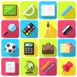 Stock Vector: Flat style school icons