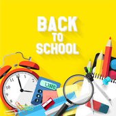 Back to school - Vector flat design illustration — Vector de stock