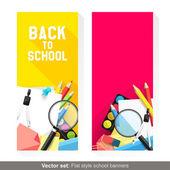 Powrót do szkoły banery — Wektor stockowy