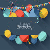 Flat style birthday background — Stock Vector