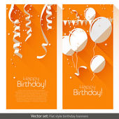 Flat Birthday banners — Stock Vector
