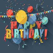Flat birthday greeting card — Stock Vector