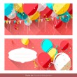 Sweet birthday banners — Stock Vector