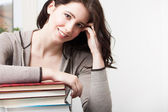College girl with books — Stok fotoğraf