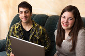 Teens study with Laptop — Stock Photo