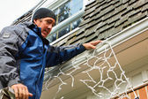 Putting up the Christmas lights — Stock Photo