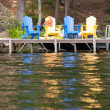 Lakeside seats — Stock Photo