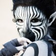 Zebra woman — Stock Photo