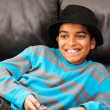 Boy in black hat — Stock Photo