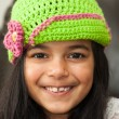 Girl in crocheted hat — Stock Photo