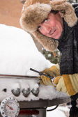 Unhappy Barbeque guy in Snow — Stock Photo