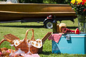 Vintage picnic at the lakehouse — Stock Photo