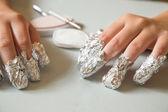 Removing shellac nails — Stock Photo