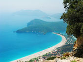 Panorama of blue lagoon and beach oludeniz turkey — Foto de Stock