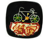 Creative pasta food bicycle shape — Stock Photo