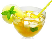 Fruit yellow punch cocktail drink with pineapple — Stock Photo