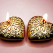 Scented spa candles set heart shape — ストック写真