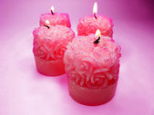 Scented spa candles set rose shape — Stock Photo