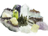 Amethyst quartz geode geological crystals — Stock Photo