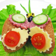 Creative vegetable sandwich with cheese and ham — Stok fotoğraf