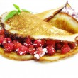 Sweet pancakes with wild strawberry fruit jelly — Stock Photo