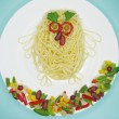 Creative pasta food bird shape — Stock Photo