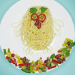 Stock Photo: Creative pasta food bird shape