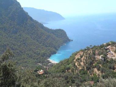 Panorama van de middellandse zee kust van turkije — Stockvideo