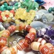 Semigem necklaces and beads jewelery as fashion background — Stock Video