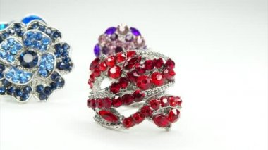 Precious silvery rings jewelery with gem crystals — Stock Video