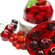 Cherry dessert with pudding and jelly — Foto de Stock