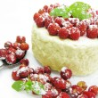 Dairy pudding dessert with wild strawberry berries — Foto de Stock