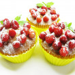 Stock Photo: Muffin cakes with wild strawberry berries