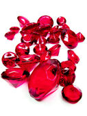 Red ruby gem stones crystals — Stock Photo