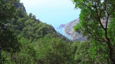 Mediterranean sea landscape view of beach kabak bay turkey — Stock video