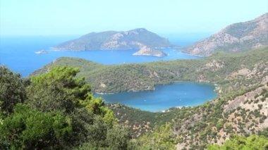 Panorama of blue lagoon and beach oludeniz turkey — Stock Video