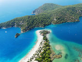 Panorama of blue lagoon and beach oludeniz turkey — Stock Photo