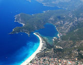Panorama of blue lagoon and beach oludeniz turkey — Stock Photo