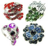 Smycken ring med ljusa röda ruby kristaller — Stockfoto