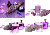 Spa candles and lavender — Foto de Stock