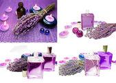 Spa candles and lavender — ストック写真