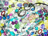 Kristaller pärlor smycken som mode bakgrund — Stockfoto