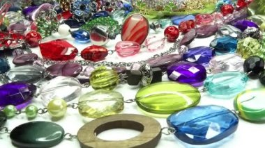 Crystals beads jewellery as fashion background — Stock Video