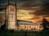 Église au coucher du soleil — Photo
